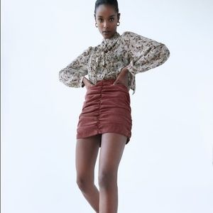 Zara cord draped mini skirt